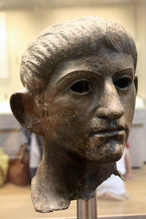 Bronze head of Claudius found in the River Alde at Rendham, near Saxmundham, Suffolk (British Museum). Potentially taken from the Temple of Claudius in Colonia Victricensis during the Boudican revolt. Roman emperor head.jpg
