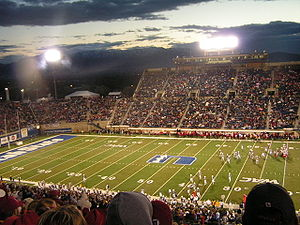 Utah State Aggies football - Football game being played at USU's Romney Stadium