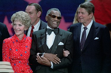 Charles with President Ronald Reagan and First Lady Nancy Reagan, 1984 Ronald Reagan, Nancy Reagan, and Ray Charles.jpg