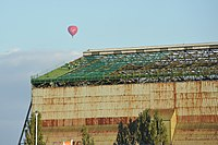 Roofing work on Cardington Airship Shed 1 in October 2012