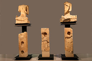 "Celtic art - Sculpture from Roquepertuse, including ""skull-niches"" and seated figures"