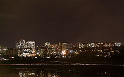 Nighttime view of Rosslyn skyline from Georgetown
