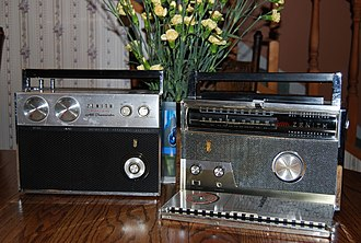 Eugene F. McDonald - LEFT: The Royal 2000 Tran-Symphony (1960), First American FM/AM Portable RIGHT: The Royal 1000 Trans-Oceanic (1957)- First Transistor Portable Multiband Radio