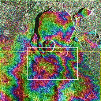 Interferometric synthetic-aperture radar - Corresponding interferogram of Kīlauea, showing topographic fringes (NASA/JPL-Caltech)