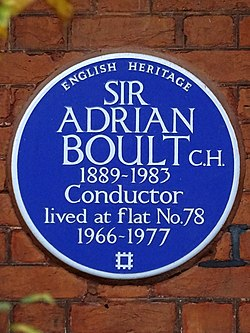 Sir adrian boult c.h. 1889 1983 conductor lived at flat no.78 1966 1977