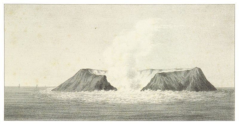 Fil:SMYTHE(1832) 29 VIEWS OF THE NEW VOLCANIC ISLAND OF FERNANDEA, AS SEEN ON THE 6TH AUGUST 1831, DURING THE INTERVAL OF ERUPTIONS.jpg