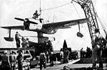 SO3C on catapult of USS Columbia (CL-56) 1943.jpg