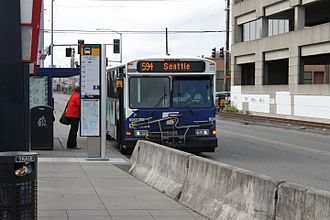 SODO Busway - Sound Transit Express route 594 at SODO Busway stop at South Lander Street, next to the SODO light rail station.