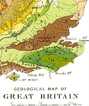 Geology of south-eastern England.  The High Weald is in lime green (9a); the Low Weald, darker green (9).  Chalk Downs, pale green (6)