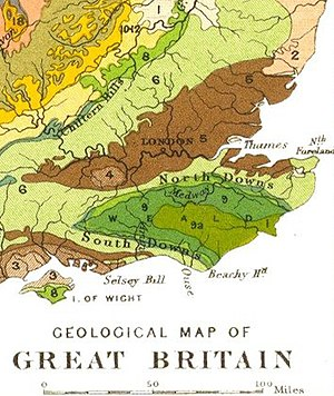 Weald - Geology of south-eastern England. The High Weald is in lime green (9a); the Low Weald, darker green (9). Chalk Downs, pale green (6)