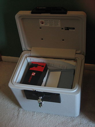 Safe - A typical home safe, which is portable. These types of safes are generally used for protection against fire.