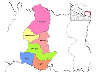 Sagarmatha Zone - Image: Sagarmatha districts