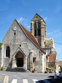Saint-Vaast-lès-Mello (60), église Saint-Vaast, façade ouest.jpg