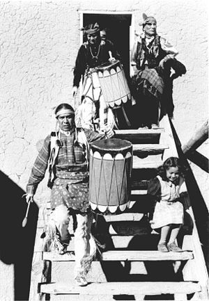 San Ildefonso Pueblo, New Mexico - Drummers at San Ildefonso Pueblo, 1942. Ansel Adams, photographer