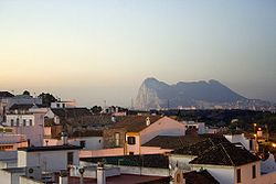 View of San Roque at dusk showing Gibraltar in the background.