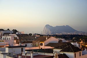 San Roque, Cádiz - View of San Roque at dusk showing Gibraltar in the background.