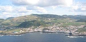 Santa Cruz da Graciosa - The municipal seat of Santa Cruz da Graciosa, as seen from off the northeast coast of the island of Graciosa