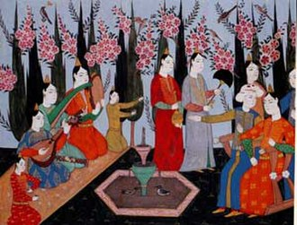 Çeng - Oud, çeng, and def in the palace garden. Early 16th century. From I. Ahmed's collection.