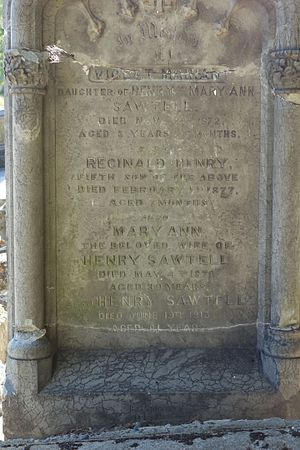 Henry Sawtell - Grave stone for Sawtell, his first wife, and two of their children
