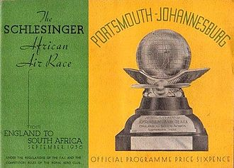 The Schlesinger African Air Race - Official Schesinger Race programme, Front cover 1936