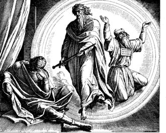 2 Maccabees - Vision of Judas Maccabee, 1860 woodcut by Julius Schnorr von Karolsfeld