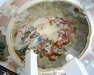 Schussenried Abbey - Ceiling painting in stairwell, New Monastery