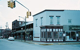 Scottdale, Pennsylvania - Historic buildings (circa 1880) at corner of Pittsburgh Street and South Broadway Street