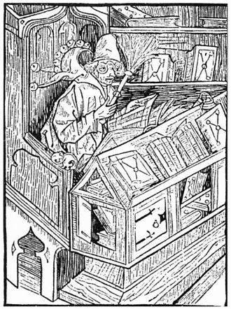 Bibliomania (book) - The Book Fool, a 1494 woodcut by Sebastian Brant, was published in the 1809 edition