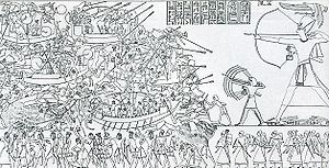 Egyptian Navy - Ramses III at the Battle of the Delta between the Egyptian Navy and the Sea Peoples approximately 1198–1166 BC