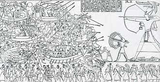 Naval warfare - Scene from an Egyptian temple wall shows Ramesses' combined land and sea victory in the Battle of the Delta.