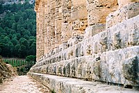 Triple-stepped crepidoma with stylobate at top, in the Doric Temple of Segesta, Sicily