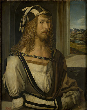 Self-Portrait (Dürer, Madrid) - Self-portrait, 1498. Museo del Prado, Madrid. Oil on wood panel, 52 cm x 41 cm.