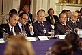 Senator William Proxmire, Alan Greenspan, President Gerald R. Ford, Representative John Rhodes, and Representative Wright Patman at a Conference on Inflation at the White House - NARA - 12082617.jpg