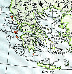 Location of Ionian Islands