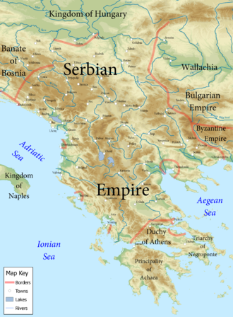 Dejan (magnate) - Map of the Serbian Empire (1355). Dejan ruled an area roughly starting from the east of Skopje eastwards towards Velbužd.