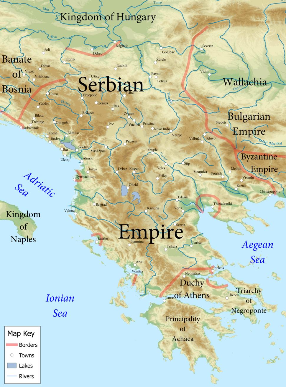 Serbian Empire 1355 CE relief English