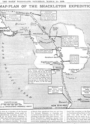 Imperial Trans-Antarctic Expedition - Map published in March 1916, indicating the planned course of the expedition.