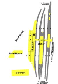 Plan of Sheffield Midland Station. Key.