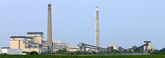 Sherburne County Generating Station - The Sherco power plant in Becker, Minnesota. The three generator units are on the left.
