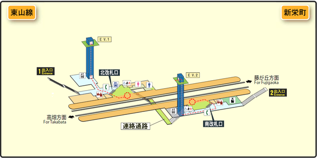 Shinsakae-machi station map Nagoya subway's Higashiyama line 2014.png