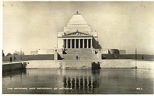 Shrine of Remembrance - The Shrine in the 1930s showing the reflecting pool in front of the north face, where the World War II Forecourt is now located
