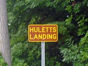 Huletts Landing, New York - Sign depicting the entrance to Huletts Landing on CR 6