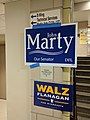 Signs for John Marty, Tim Walz, and Peggy Flanagan at the Minnesota DFL February 2018 precinct caucuses 09.jpg