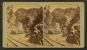 Clear Creek (Colorado) - Stereoscopic view - Silver ore train, Clear Creek Canyon - about 1868?