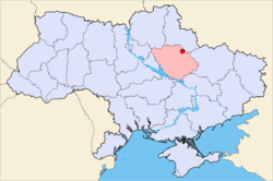 Map of Ukraine with Zinkiv highlighted.
