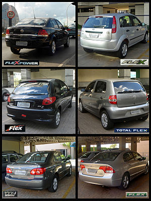 "Ethanol fuel in Brazil - Six typical Brazilian flex-fuel models from several car makers, popularly called ""panter"" cars, that run on any blend of hydrous ethanol (E100) and gasoline (E20 to E25)."