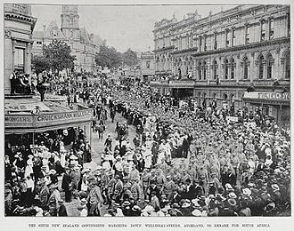 Military history of New Zealand - Sixth New Zealand Contingent marching in Auckland in 1901 before sailing to South Africa for the Second Boer War.