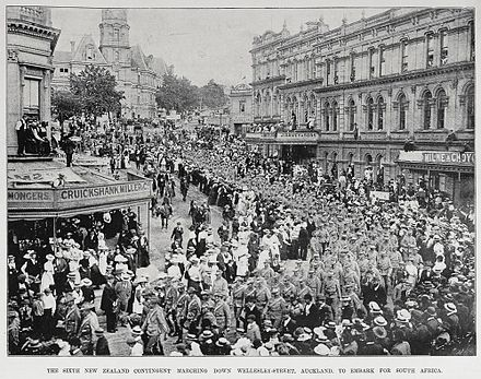 New Zealand troops marching down Wellesley Street, Auckland, to embark for South Africa Sixth New Zealand Contingent marching down Wellesley Street, Auckland.jpg