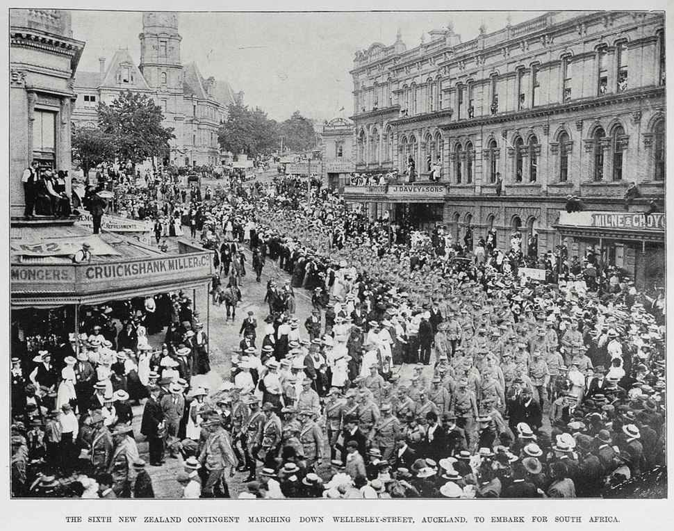 Sixth New Zealand Contingent marching down Wellesley Street, Auckland