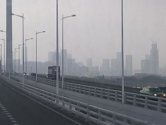 China Resources Headquarters - Image: Skyscrapers under construction in Houhai as viewed from B2P on Shenzhen Bay Bridge